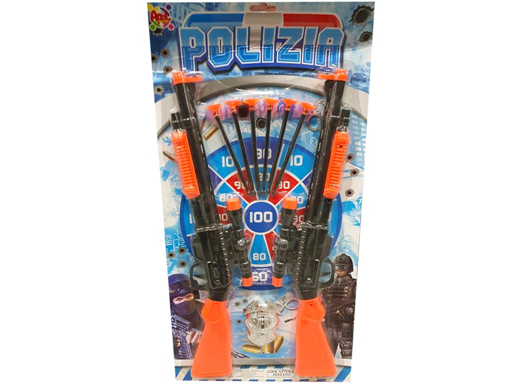 Σετ Παιχνίδι Όπλα 2 Αστυνομικές Καραμπίνες με 6 Βελάκια και Στόχο - Cb παιχνίδια   άλλα παιχνίδια