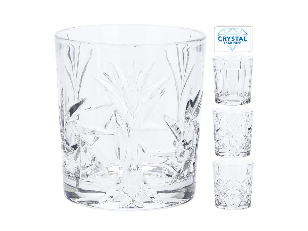 Κρυστάλλινα Ποτήρια Νερού 300ml σετ 4 τεμαχίων με ανάγλυφα σχέδια, σε 3 διαφορετ σερβίρισμα   κούπες και ποτήρια