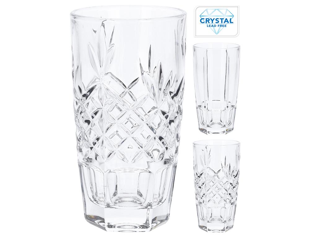 Κρυστάλλινα Ποτήρια Νερού 320ml σετ 4 τεμαχίων με ανάγλυφα σχέδια, σε 2 διαφορετ σερβίρισμα   κούπες και ποτήρια