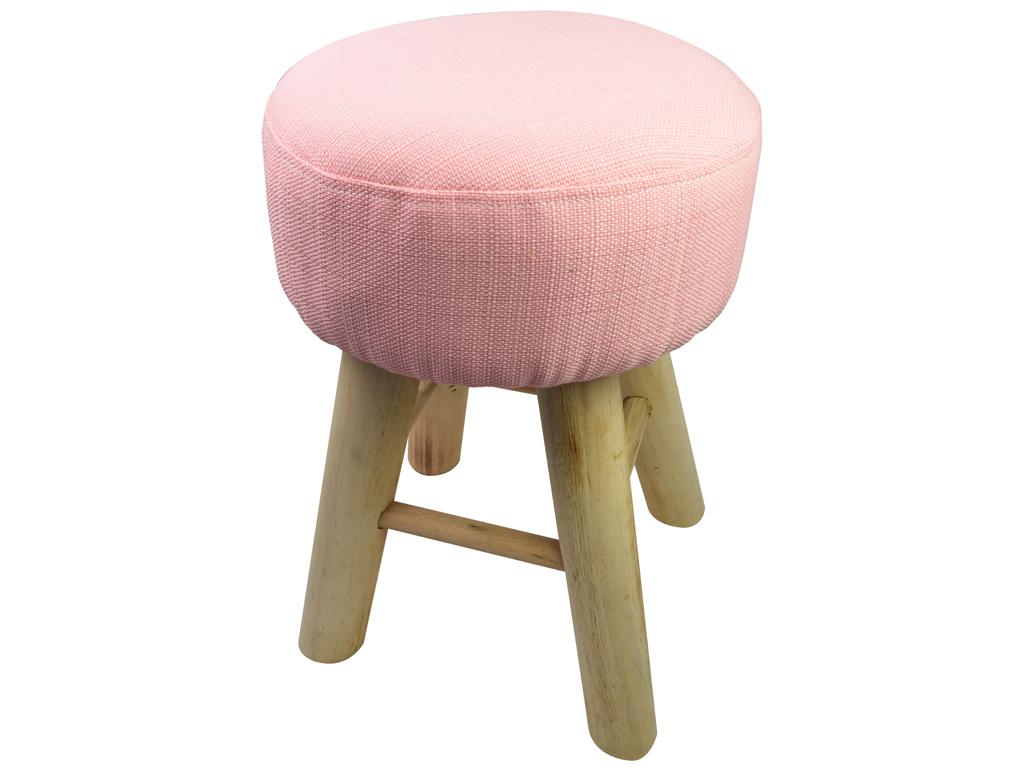 Ξύλινο Σκαμνί Σκαμπό με Υφασμάτινο Κάθισμα σε Ροζ χρώμα, 30x30x40cm, Arti Casa 05738 - Arti Casa