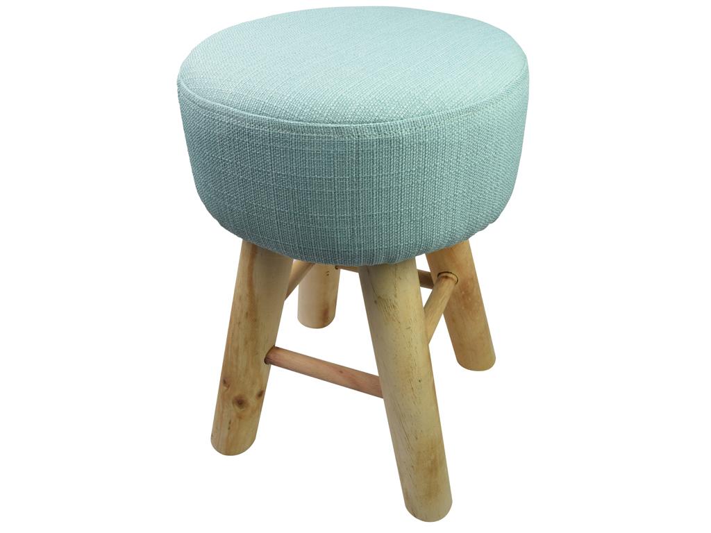 Ξύλινο Σκαμνί Σκαμπό με Υφασμάτινο Κάθισμα σε Πράσινο χρώμα, 30x30x40cm, Arti Casa 05739 - Arti Casa