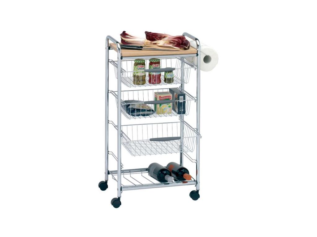 Μεταλλικό Καρότσι Κουζίνας Οργανωτής Τρόλει με 3 Συρτάρια Ράφια, 1 Μπουκαλοθήκη, 1 Ξύλινη Επιφάνεια Κοπής, 1 Θέση για Ρολό Κουζίνας και Ρόδες, 45x32x84cm, Artex CHEF 10.50.15 - Artex