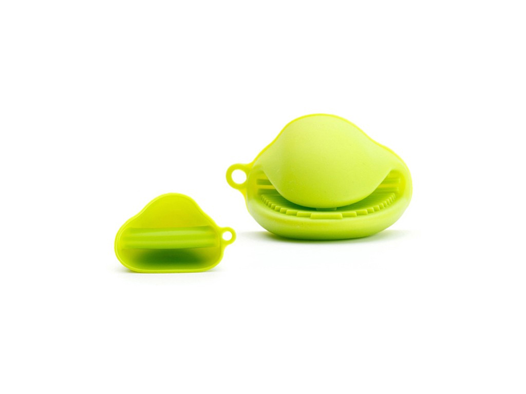 Μινι Γάντια Φούρνου σετ 2 τεμαχίων από Σιλικόνη σε Λαχανί χρώμα - Cb