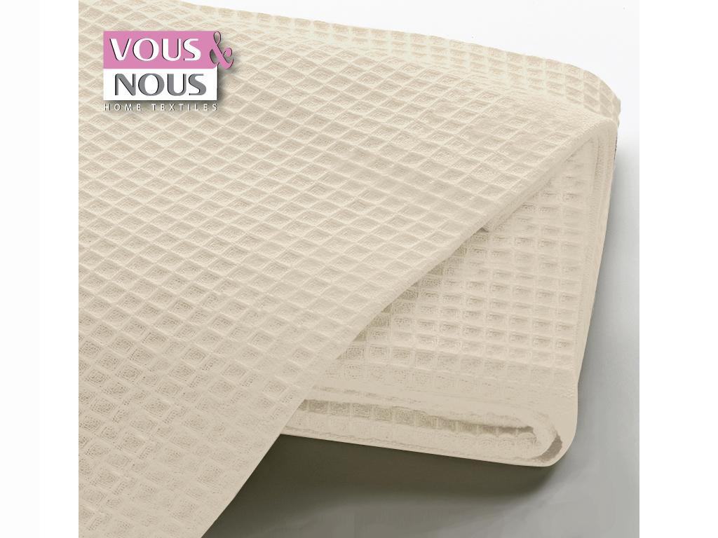 Μονή Κουβέρτα Πικέ Μονόχρωμη σε διάφορα χρώματα, 160x240cm, Vous & Nous Εκρού - Vous & Nous