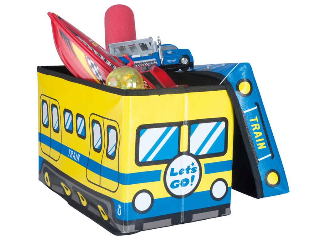 Κουτί Αποθήκευσης παιχνιδιών Παιδικό Σκαμπό κάθισμα Τρένο σε Κίτρινο και Μπλε Χρ μωρά και παιδιά   παιδική διακόσμηση