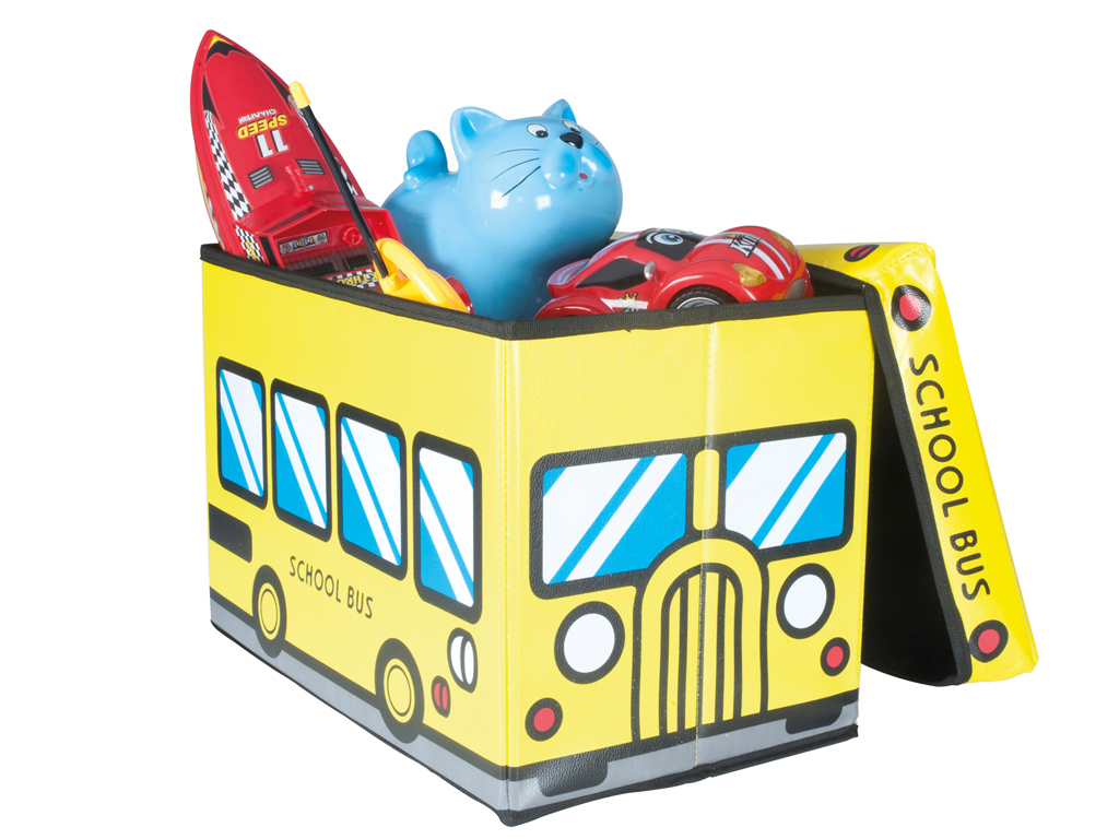 Κουτί Αποθήκευσης παιχνιδιών Παιδικό Σκαμπό κάθισμα Σχολικό Λεωφορείο σε Κίτρινο μωρά και παιδιά   παιδική διακόσμηση