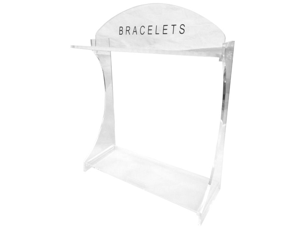 Σταντ Προβολής Βραχιολιών και Περιδέραιων 25 θέσεων σε διάφανο χρώμα με επιγραφή 'Bracelet', 23.5x8x27cm, Stand - Cb