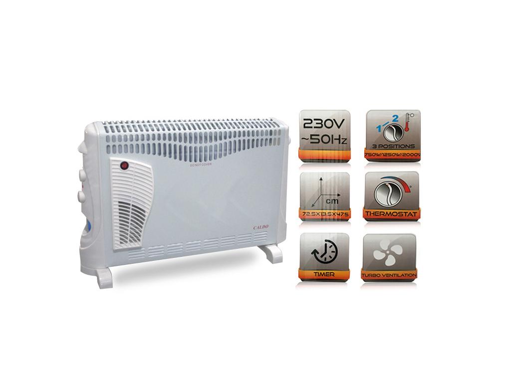 Θερμοπομπός Kαλοριφέρ Θέρμανσης 2000W AC220-240V 50HZ, με θερμοστάτη, Caldo PA006 - CALDO