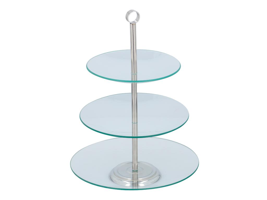 Γυάλινη Τριώροφη Πιατέλα Σερβιρίσματος Ορντεβιέρα με Στρογγυλά επίπεδα, 21x21cm, σερβίρισμα   δίσκοι  πιατέλες και ορντεβιέρες