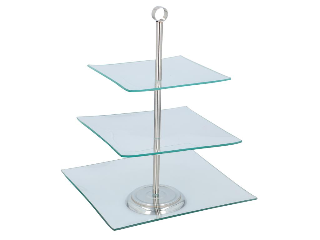 Γυάλινη Τριώροφη Πιατέλα Σερβιρίσματος Ορντεβιέρα με Τετράγωνα επίπεδα, 25x25cm, σερβίρισμα   δίσκοι  πιατέλες και ορντεβιέρες