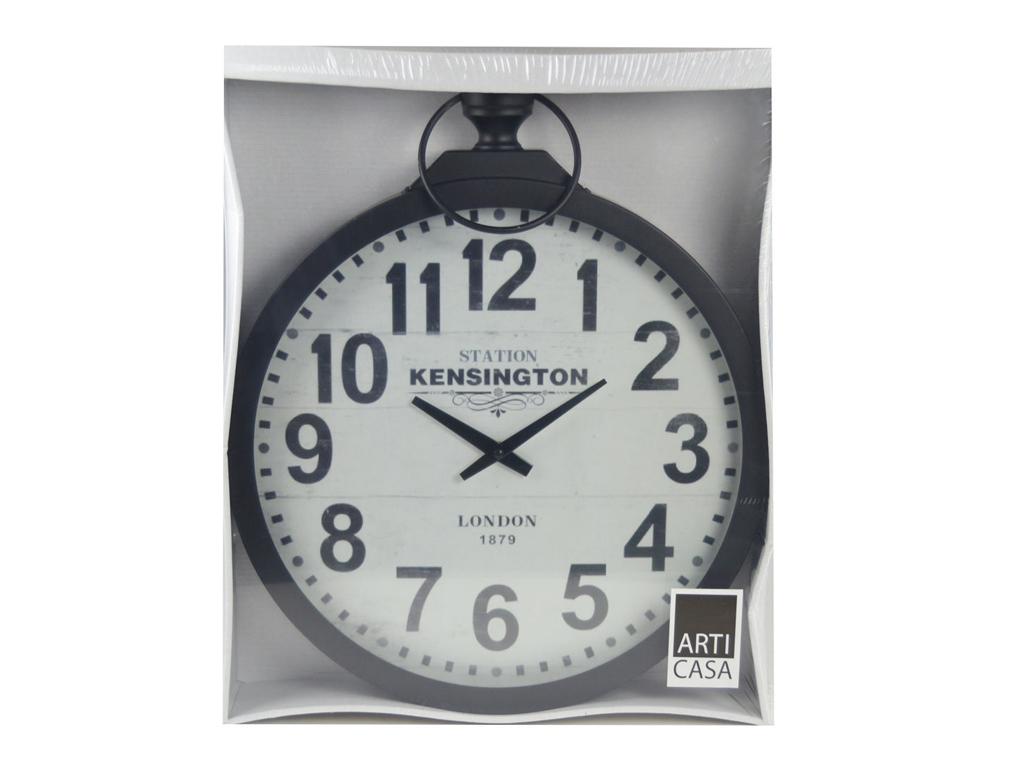 Arti Casa 97933 Αναλογικό Μεταλλικό ρολόι τοίχου σε σχήμα ρολογιού τσέπης-Χρώμα Μαύρο - Arti Casa