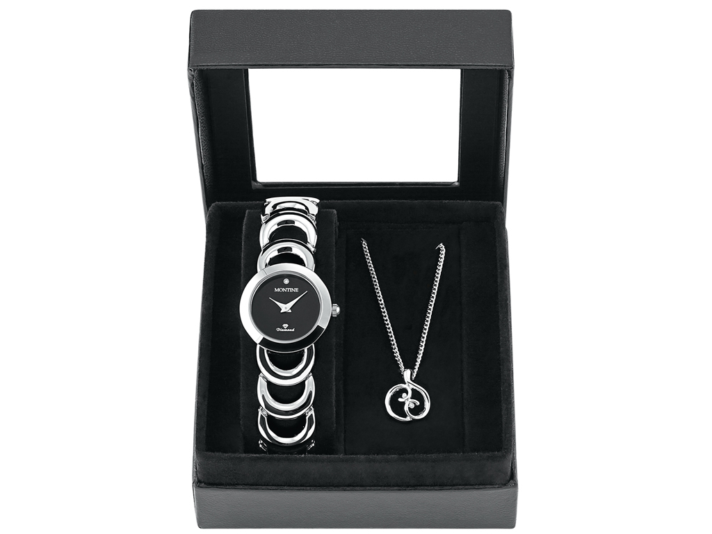 Montine MOX5361L42 Σετ συλλογή Κοσμημάτων με Γυναικείο Ρολόι και Κολιέ σε Ασημί  γυναικεία αξεσουάρ και κοσμήματα   σετ κοσμημάτων