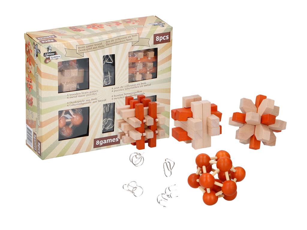 Σετ παιχνίδια σπαζοκεφαλιές μυαλού 8 τεμαχίων, 4 ξύλινα παζλ και 4 μεταλλικοί λα παιχνίδια   εκπαιδευτικά παιχνίδια
