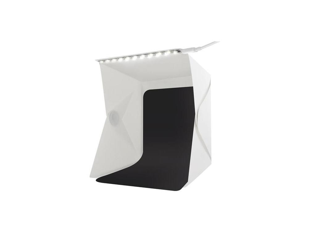 Μίνι φωτογραφικό αναδιπλούμενο studio 28×23×22 Photo Box Tent Πτυσσόμενο για Ήπια Αντανάκλαση με LED Φωτισμό και 2 backgrounds - Cb