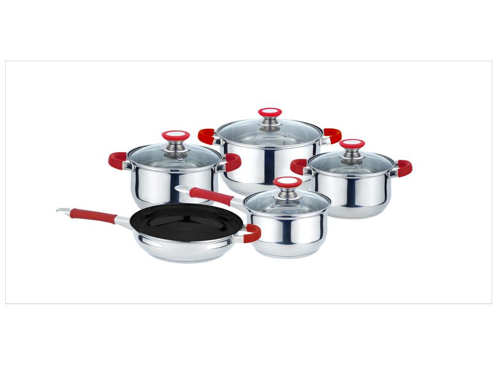 Σετ Μαγειρικά Σκεύη 9 τεμαχίων με ειδική βάση για υψηλή αγωγιμότητα από Ανοξείδωτο Ατσάλι με Κόκκινες λεπτομέρειες, Muhler MR-975 - Muhler