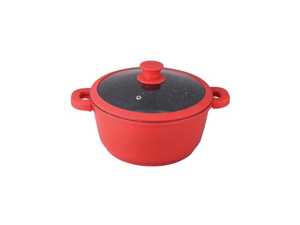 Αντικολλητική Κατσαρόλα 28cm με Μαρμάρινη Επίστρωση, καπάκι και αφαιρούμενα χερούλια σιλικόνης σε Κόκκινο χρώμα, Muhler MR-2847S – Muhler