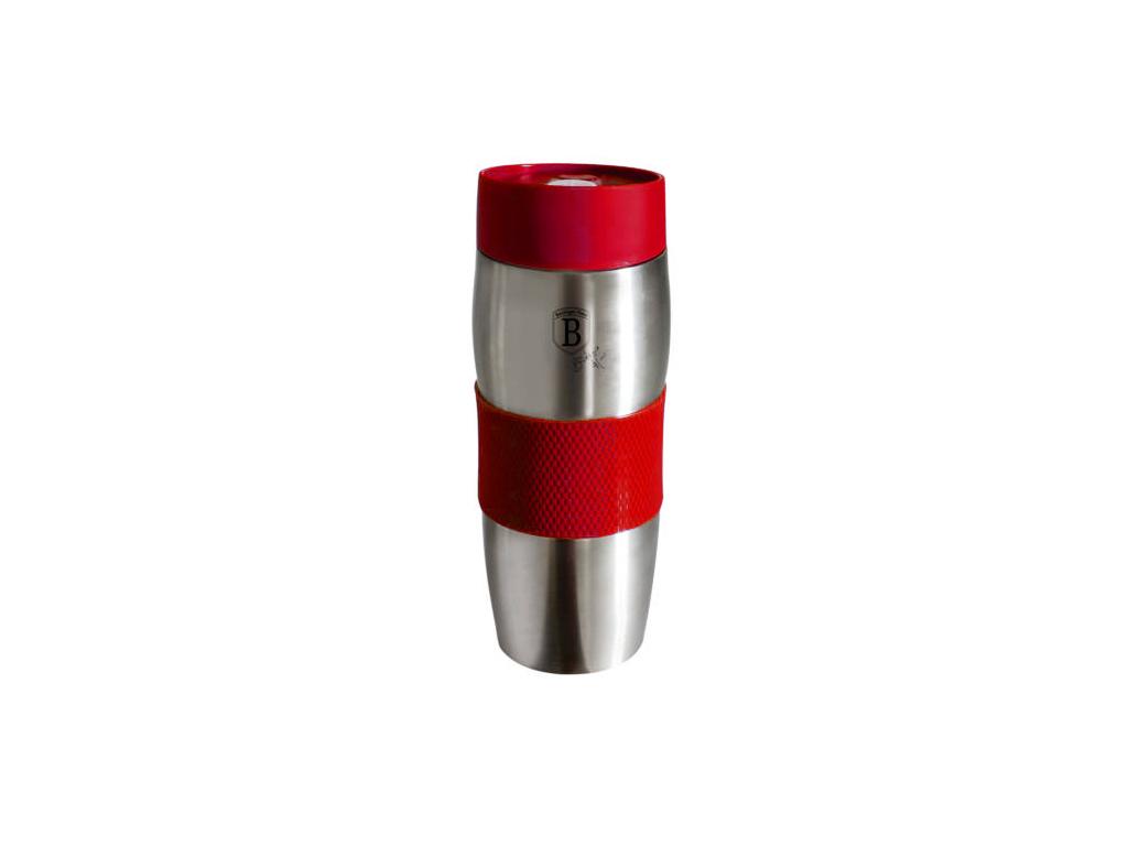 Ανοξείδωτος Θερμός 380ml με στόμιο ασφαλείας και λεπτομέρεις σιλικόνης, BH-1902 Κόκκινο - Berlinger Haus