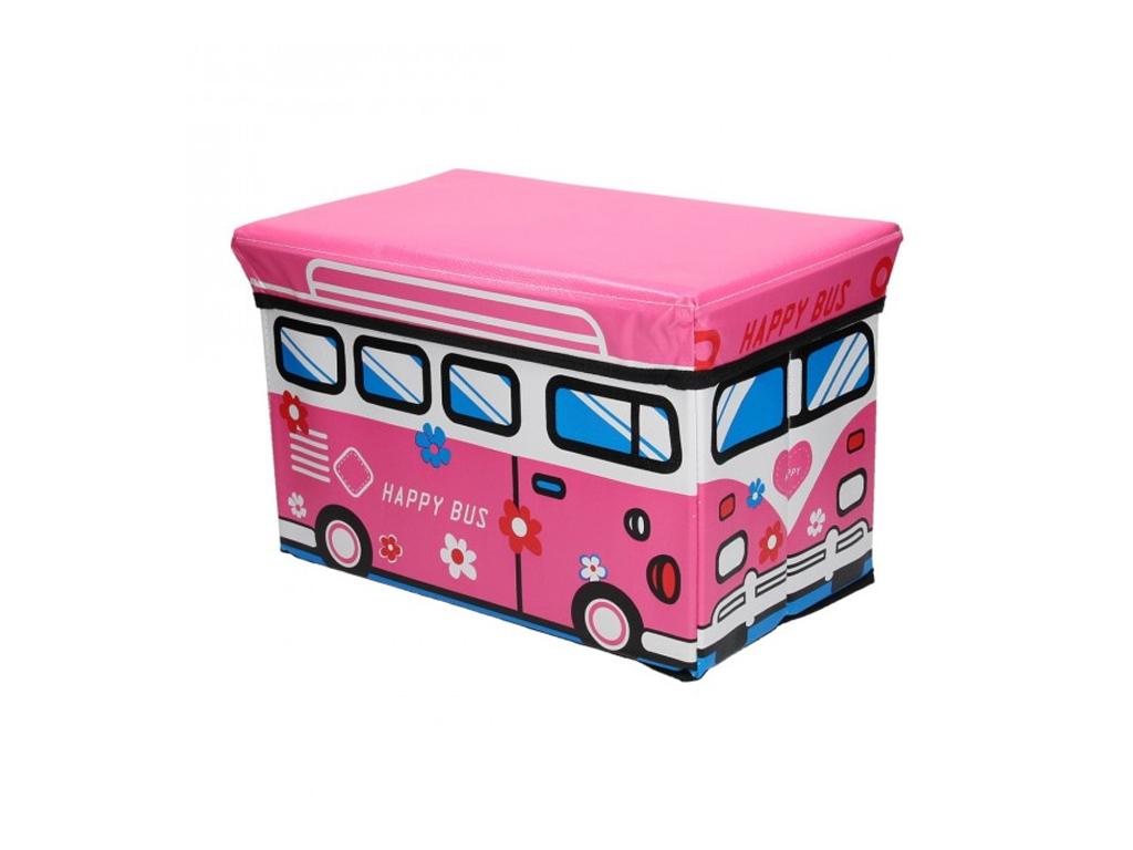Κουτί Αποθήκευσης παιχνιδιών Παιδικό Σκαμπό κάθισμα Βανάκι Love Bus σε Ροζ Χρώμα μωρά και παιδιά   παιδική διακόσμηση