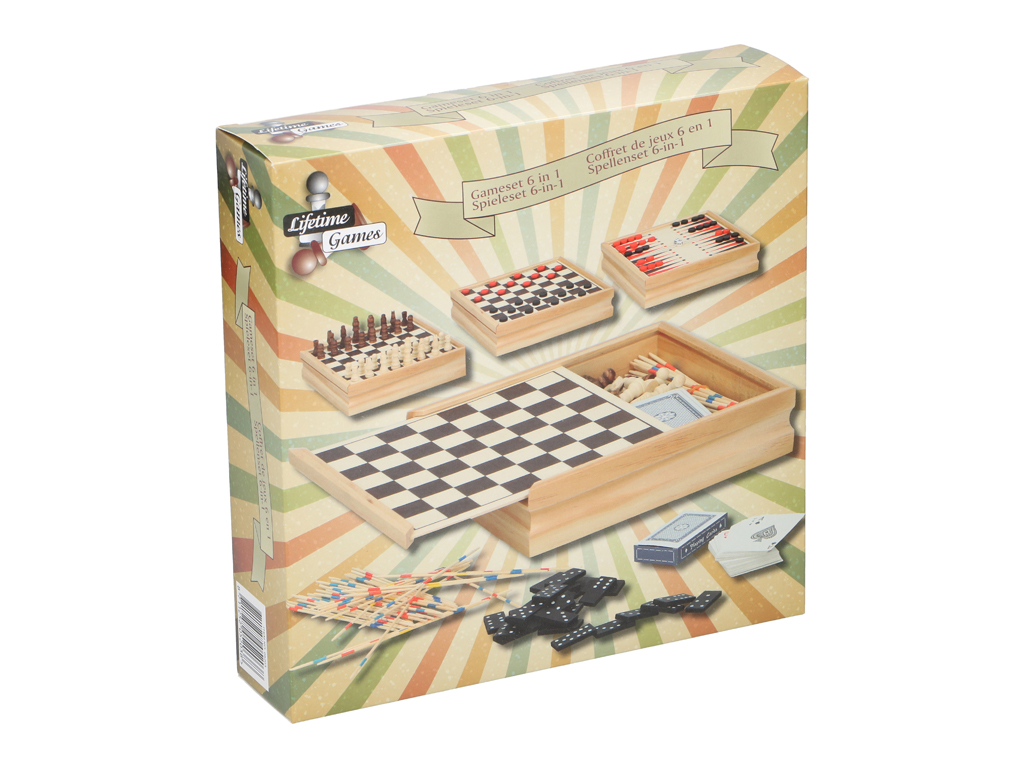 Σετ Ξύλινα Επιτραπέζια παιχνίδια 6 σε 1, σε ξύλινο κουτί, με τα 6 πιο διάσημα επ παιχνίδια   επιτραπέζια παιχνίδια
