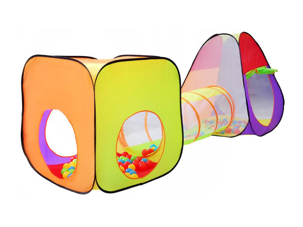 Αναδιπλούμενο παιδικό σπιτάκι σκηνή 3 σε 1 συνολικού μήκους 280cm αποτελούμενο απο ένα κύβο , ένα τούνελ με 200 μπάλες και μία σκηνή με παράθυρο, 2880 - Aria Trade