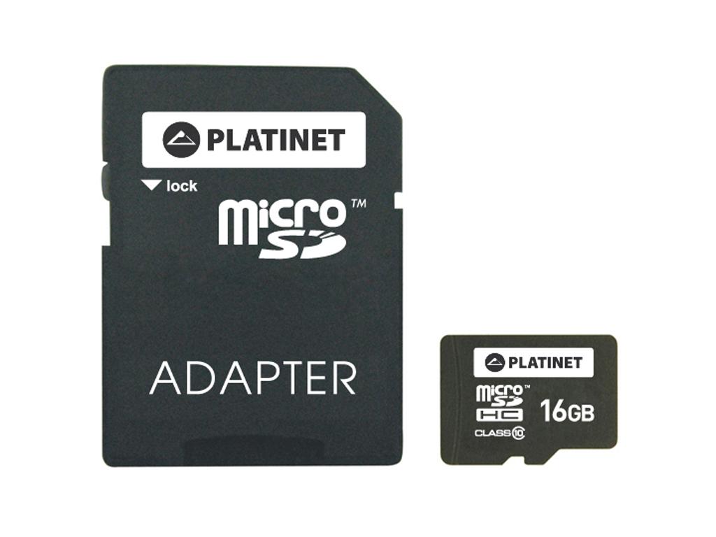 Κάρτα Μνήμης MicroSDHC 16GB Platinet Class 10 Adapter SD, Platinet, PMMSD1610 -  τηλεφωνία και tablets   aξεσουάρ για κινητά και tablets