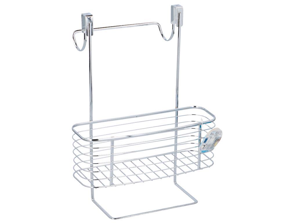 Ραφιέρα Οργανωτής Μπάνιου με 1 Ράφι και κρεμάστρα από Ανοξείδωτο ατσάλι, 28.3x20 μπάνιο   έπιπλα μπάνιου