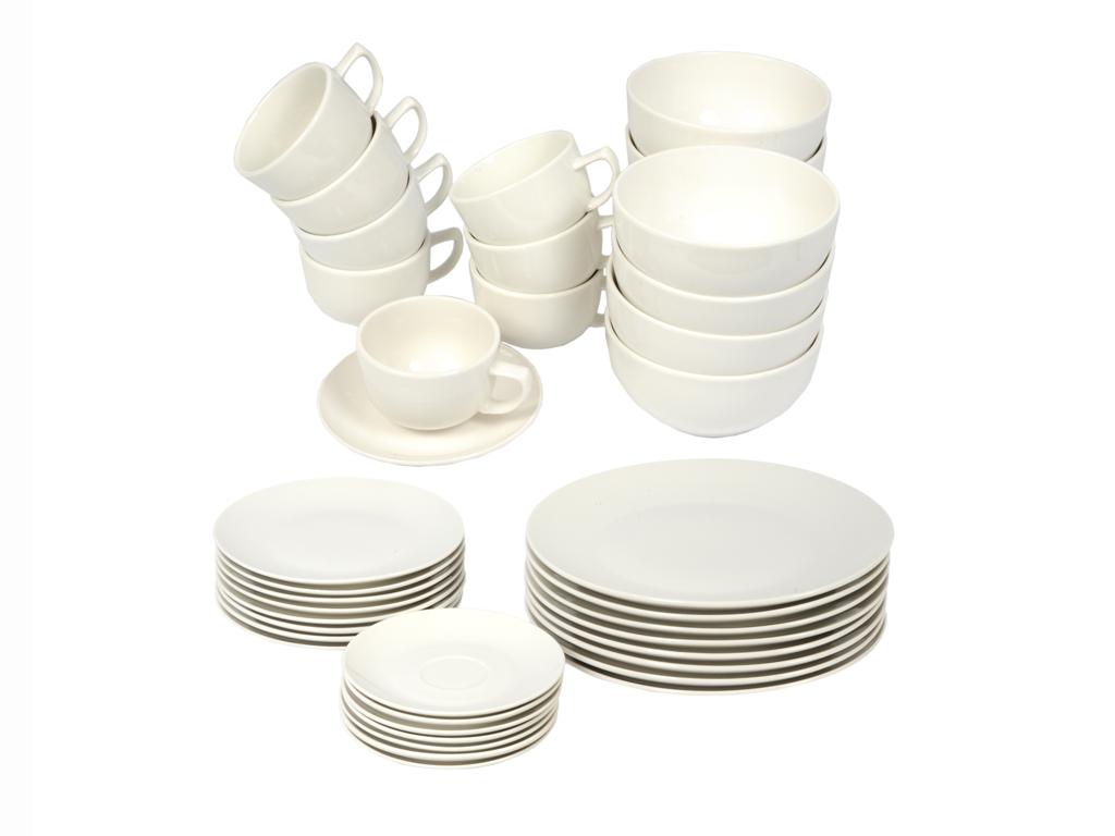 Σετ 8 Σερβίτσια Δείπνου 40 τεμαχίων με Πιάτα, Μπολ και Κούπες σε Λευκό χρώμα, Alpina Switzerland 08539 - Alpina Switzerland