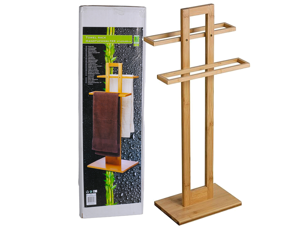 Bamboo Ξύλινη Κρεμάστρα Δαπέδου για το Μπάνιο, Κατάλληλο για πετσέτες σώματος κα μπάνιο   κουρτίνες  χαλάκια και ράγες πετσετών