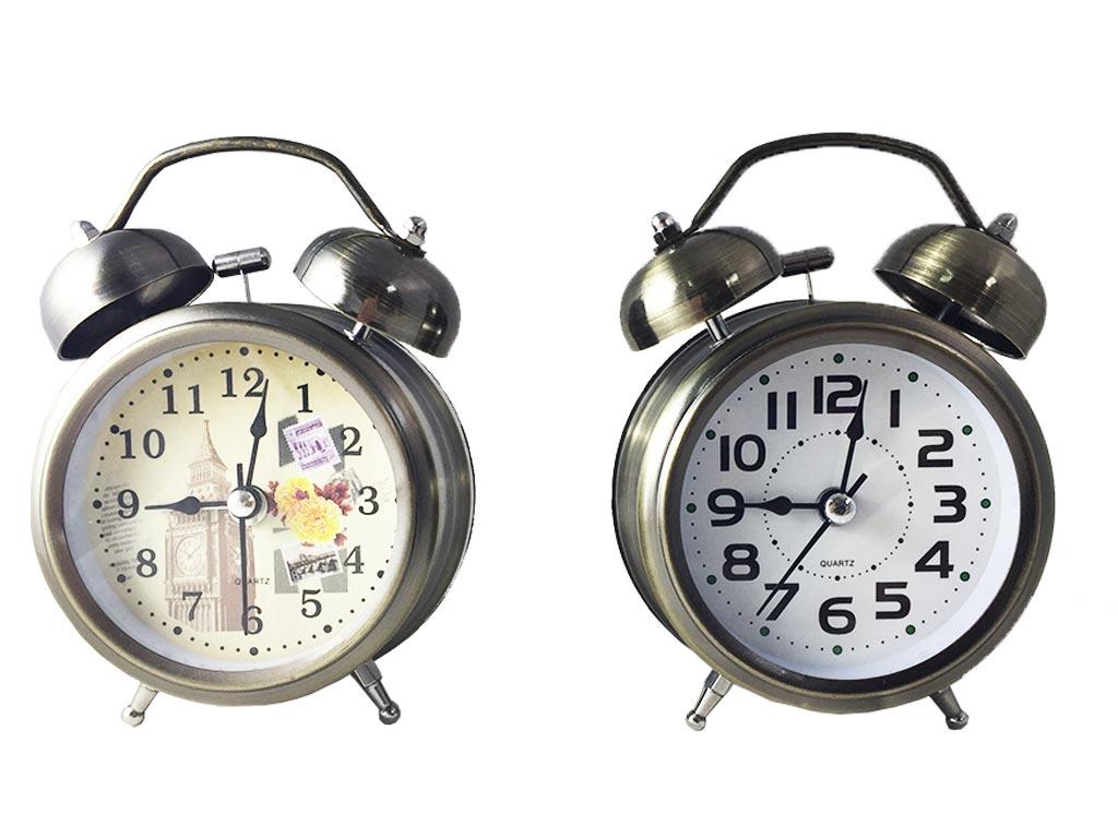 Μεταλλικό Vitage Ρολόι Ξυπνητήρι Με Φως, Διπλό Καμπανάκι Σε 2 Σχέδια 11x8cm, 669 - Cb