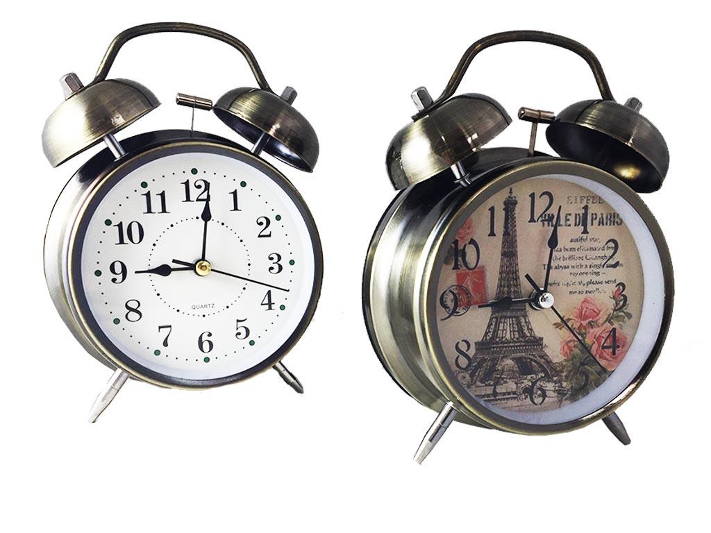 Μεταλλικό Vitage Ρολόι Ξυπνητήρι Με Φως, Διπλό Καμπανάκι Σε 2 Σχέδια 15x12cm, 668 - Cb