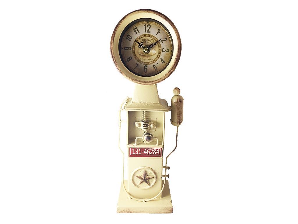 Ρετρό Διακοσμητικό Μεταλλικό Ρολόι σε σχήμα Αντλίας σε 3 χρώματα 14x37cm Μπεζ - Cb