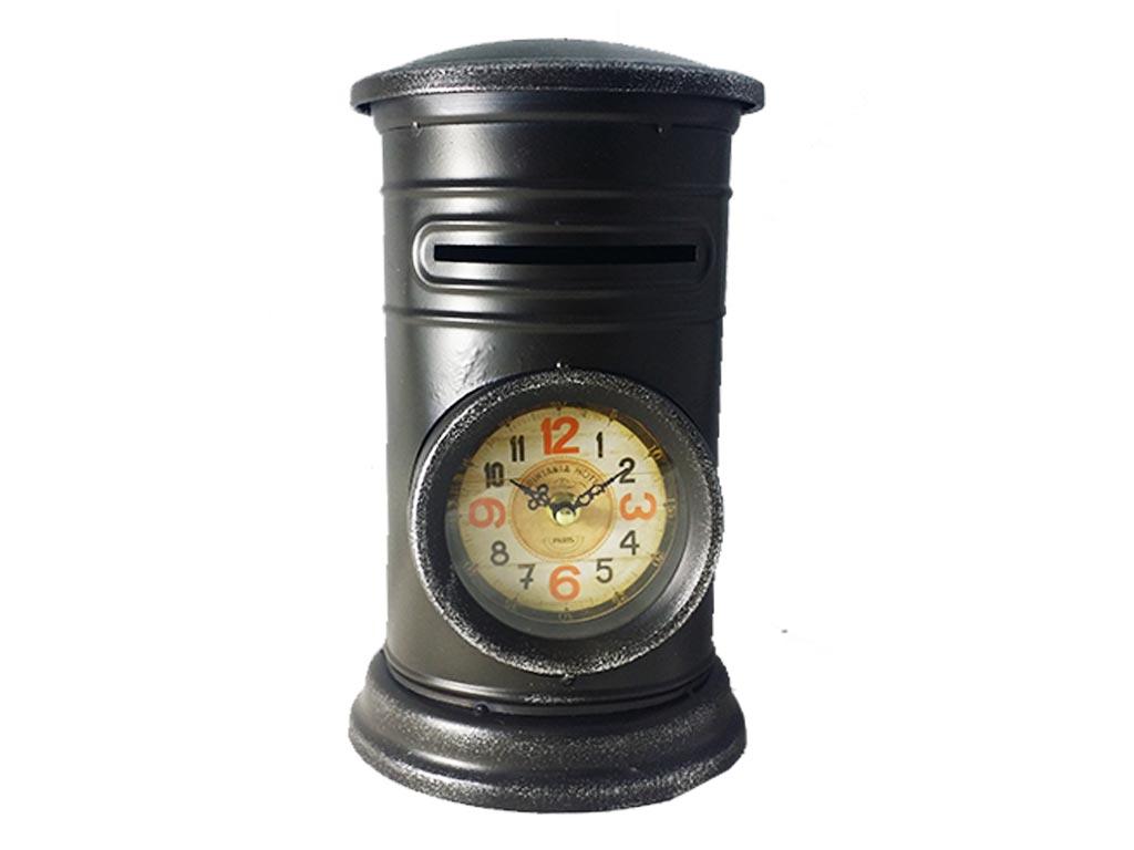 Διακοσμητικό Μεταλλικό Vintage Ρολόι Σε Σχήμα Γραμματοκιβωτιου σε 3 χρώματα 18x18x30cm, 317ATC447 Μαύρο - Cb