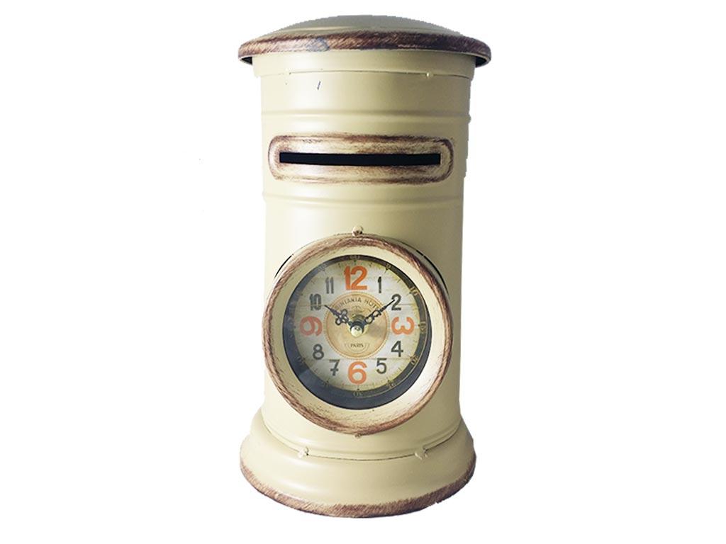 Διακοσμητικό Μεταλλικό Vintage Ρολόι Σε Σχήμα Γραμματοκιβωτιου σε 3 χρώματα 18x18x30cm, 317ATC447 Μπεζ - Cb