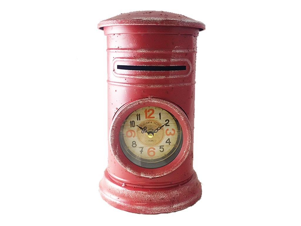 Διακοσμητικό Μεταλλικό Vintage Ρολόι Σε Σχήμα Γραμματοκιβωτιου σε 3 χρώματα 18x18x30cm, 317ATC447 Κόκκινο - Cb