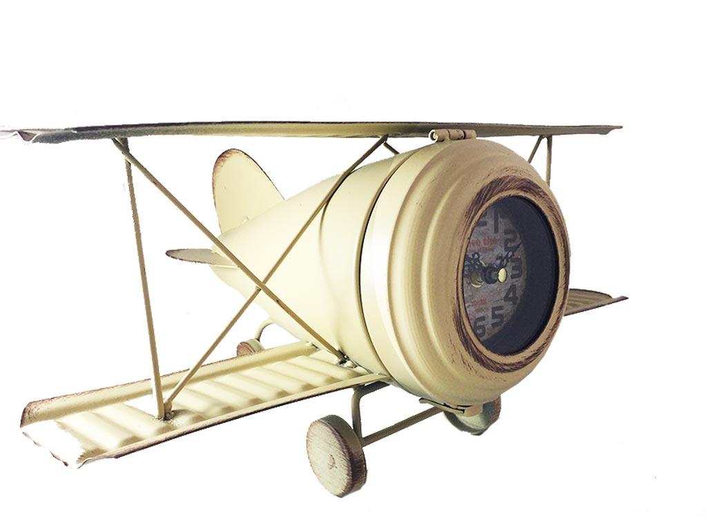 Retro Μεγάλο Διακοσμητικό Μεταλλικό Ρολόι σε σχήμα Αεροπλάνου Αντίκα σε 3 χρώματ διακόσμηση και φωτισμός   ρολόγια τοίχου  επιτραπέζια και επιδαπέδια ρολόγια