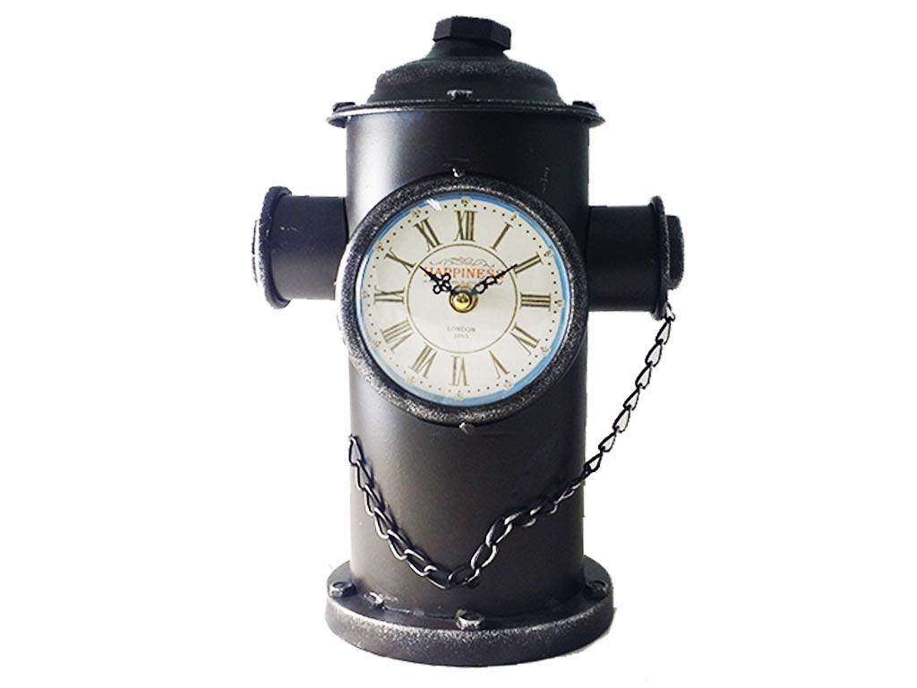 Διακοσμητικό Μεταλλικό Vintage Ρολόι σε σχήμα Πυροσβεστικός Κρουνός σε 3 χρώματα, σιαστάσεων 14x26cm, 516ATC341 Μαύρο - Cb