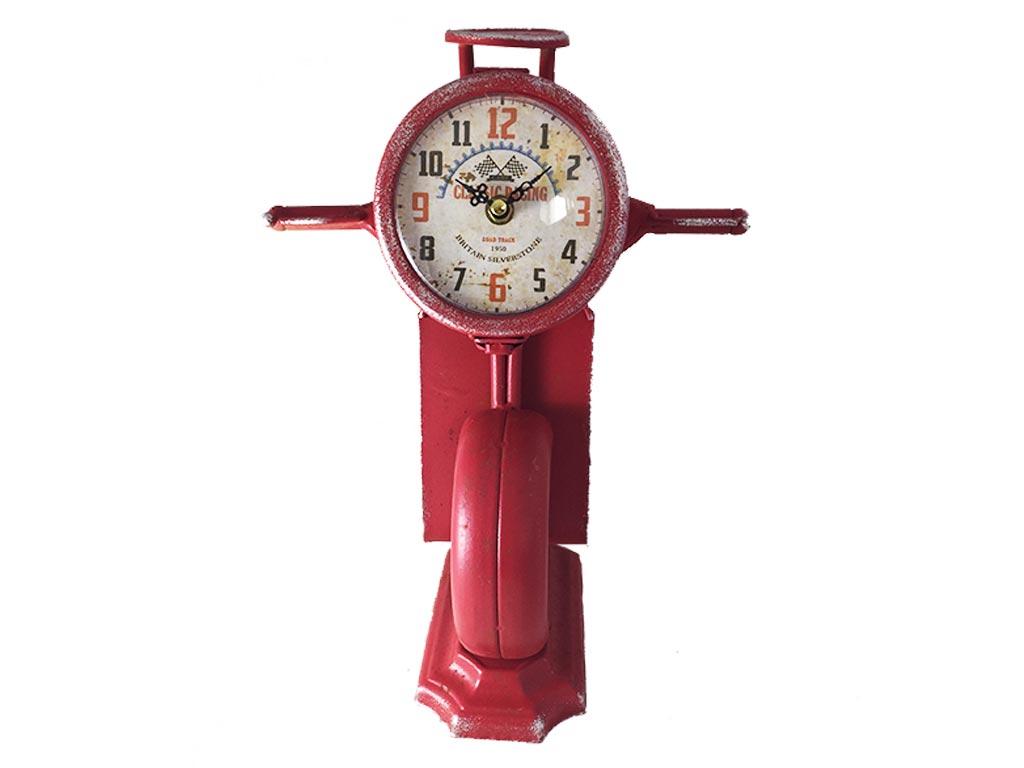 Διακοσμητικό Vintage Ρολόι Σε Σχήμα Βέσπας Σε 3 Αποχρώσεις 27x35cm, 17ATC405 Κόκ διακόσμηση και φωτισμός   ρολόγια τοίχου  επιτραπέζια και επιδαπέδια ρολόγια