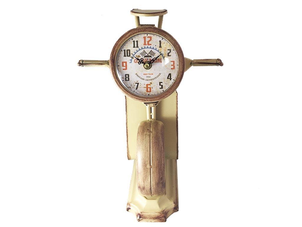 Διακοσμητικό Vintage Ρολόι Σε Σχήμα Βέσπας Σε 3 Αποχρώσεις 27x35cm, 17ATC405 Μπεζ - Cb