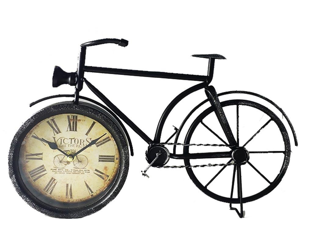 Διακοσμητικό Μεταλλικό Vintage Ρολόι Σε Σχήμα Ποδηλάτου σε 3 χρώματα 39χ25cm Μαύ διακόσμηση και φωτισμός   ρολόγια τοίχου  επιτραπέζια και επιδαπέδια ρολόγια