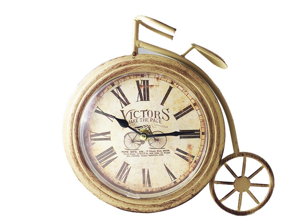 Διακοσμητικό Μεταλλικό Ρολόι Vintage Rustic σε σχήμα Ποδηλάτου Αντίκα σε 3 χρώματα 26χ23cm Μπεζ - Cb