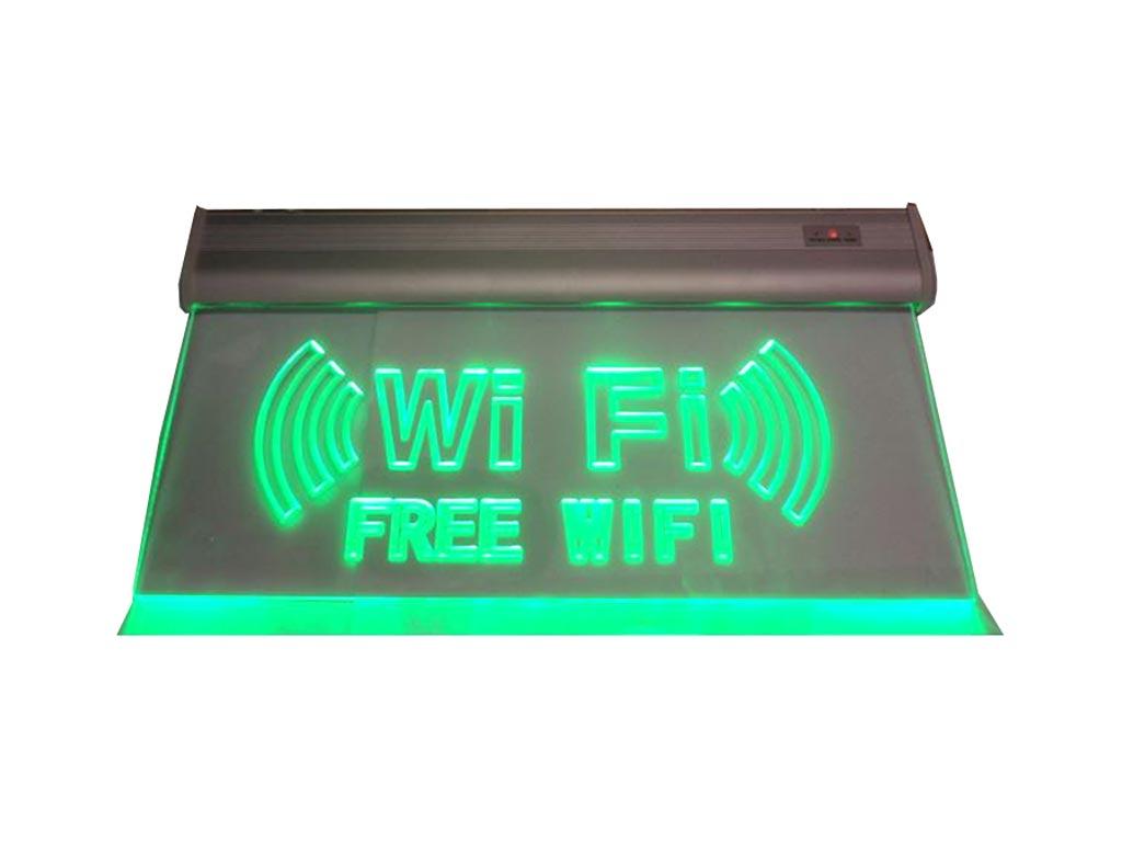 """Φωτιζόμενη Πινακίδα Επιγραφή LED με θέμα """"WiFi"""", γυάλινη με Πράσινο Φως, Διπλής  διακόσμηση και φωτισμός   διακοσμητικά τοίχου"""
