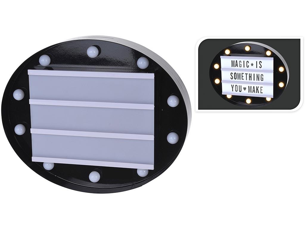 Φωτιζόμενος Πίνακας LED, για Μηνύματα Cinema, με 60 Σύμβολα, 30cm, AX5302620 Μαύρο - Cb