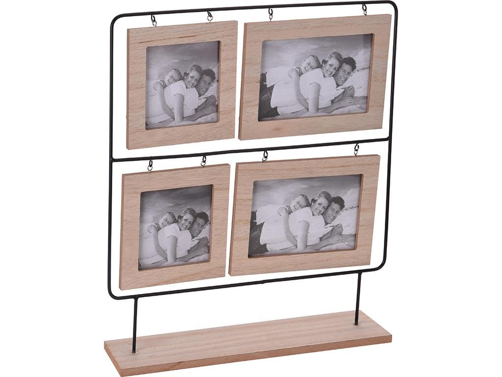 Κορνίζα 4 Θέσεων Με Μεταλλική Βάση Και Ξύλινες θέσεις για Φωτογραφίες Διαστάσεων 35X8X38.5cm, HZ2001110 - Cb