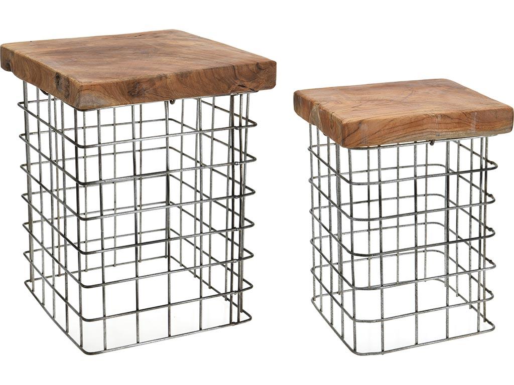 Σετ 2 τεμαχίων τετράγωνα τραπεζάκια ή σκαμπό μέσης με μεταλλική βάση και ξύλινη  έπιπλα   πουφ και σκαμπό