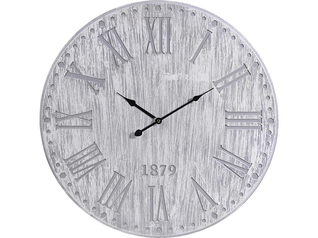 Αναλογικό Ρολόι Τοίχου με Ανάγλυφους Λατινικούς Αριθμούς για ενδείξεις, Χρώματος Γκρι, Y36200260 - Cb
