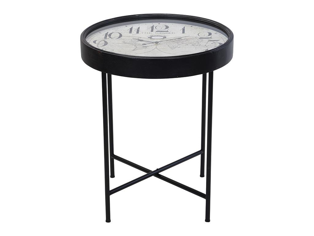 Μεταλλικό Τραπεζάκι Σαλονιού Side table σε σχήμα ρολογιού, με ενσωματωμένους δείκτες και γυάλινη προστατευτική επιφάνεια, 63X63X70cm, Y36200380 - Cb