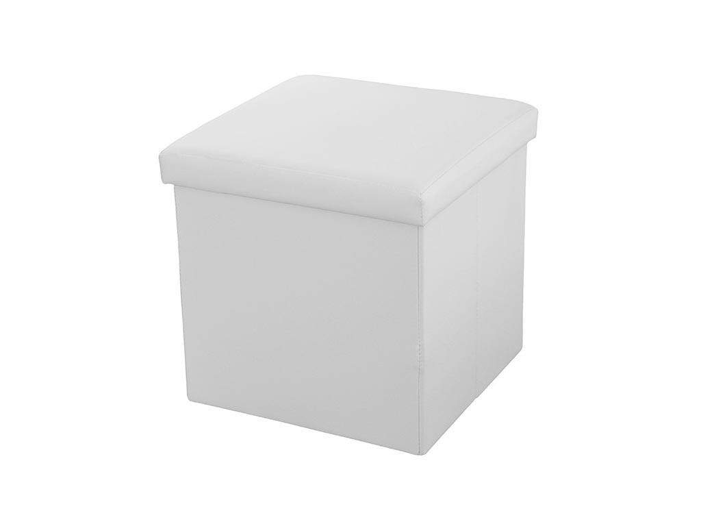Σκαμπό Πτυσσόμενο με Αποθηκευτικό Χώρο σε Λευκό χρώμα από υψηλής ποιότητας eco Δ έπιπλα   πουφ και σκαμπό