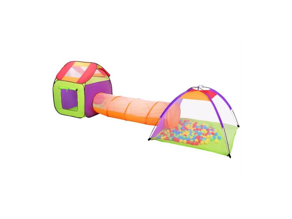 Αναδιπλούμενο παιδικό σπιτάκι σκηνή 3 σε 1 συνολικού μήκους 375cm αποτελούμενο απο ένα κύβο, ένα τούνελ με 200 μπάλες και μία σκηνή με παράθυρο και σκεπή, 2881 - Aria Trade