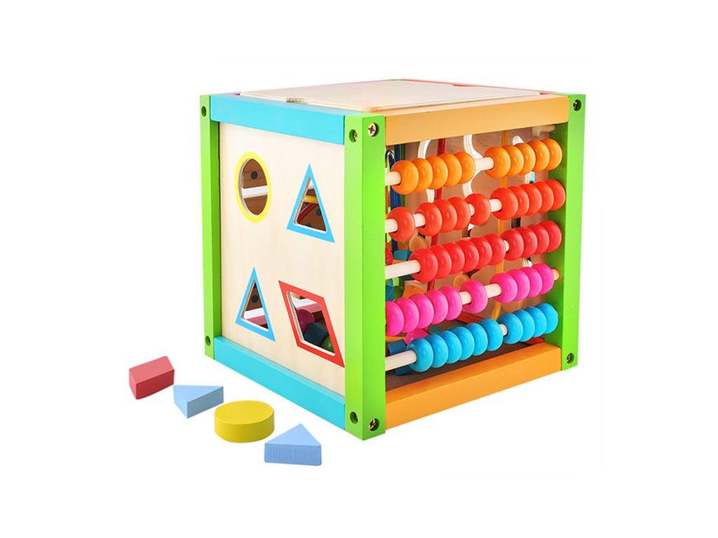 Ξύλινος Κύβος Πολλαπλών Δραστηριοτήτων Εκπαιδευτικό Παιχνίδι 5 σε 1, 21x20x20cm  παιχνίδια   εκπαιδευτικά παιχνίδια