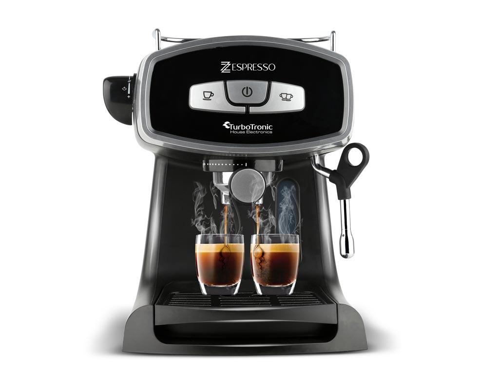 Καφετιέρα Espresso Cappuccino 19bar Πίεσης με Αποσπώμενο Δοχείο 1.2Lt, Turbotronic TT-CM19 Μαύρο - TurboTronic